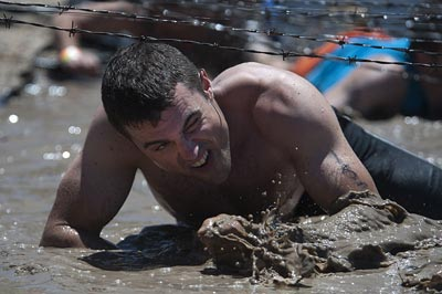 obstacle course crawl under barber wire